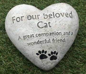 Large 14cm FOR OUR BELOVED CAT HEART Grave Stone  956033